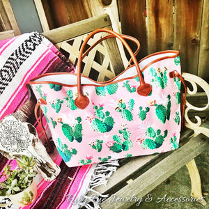 Large Pink Cactus Tote - Ruby Rue Jewelry & Accessories