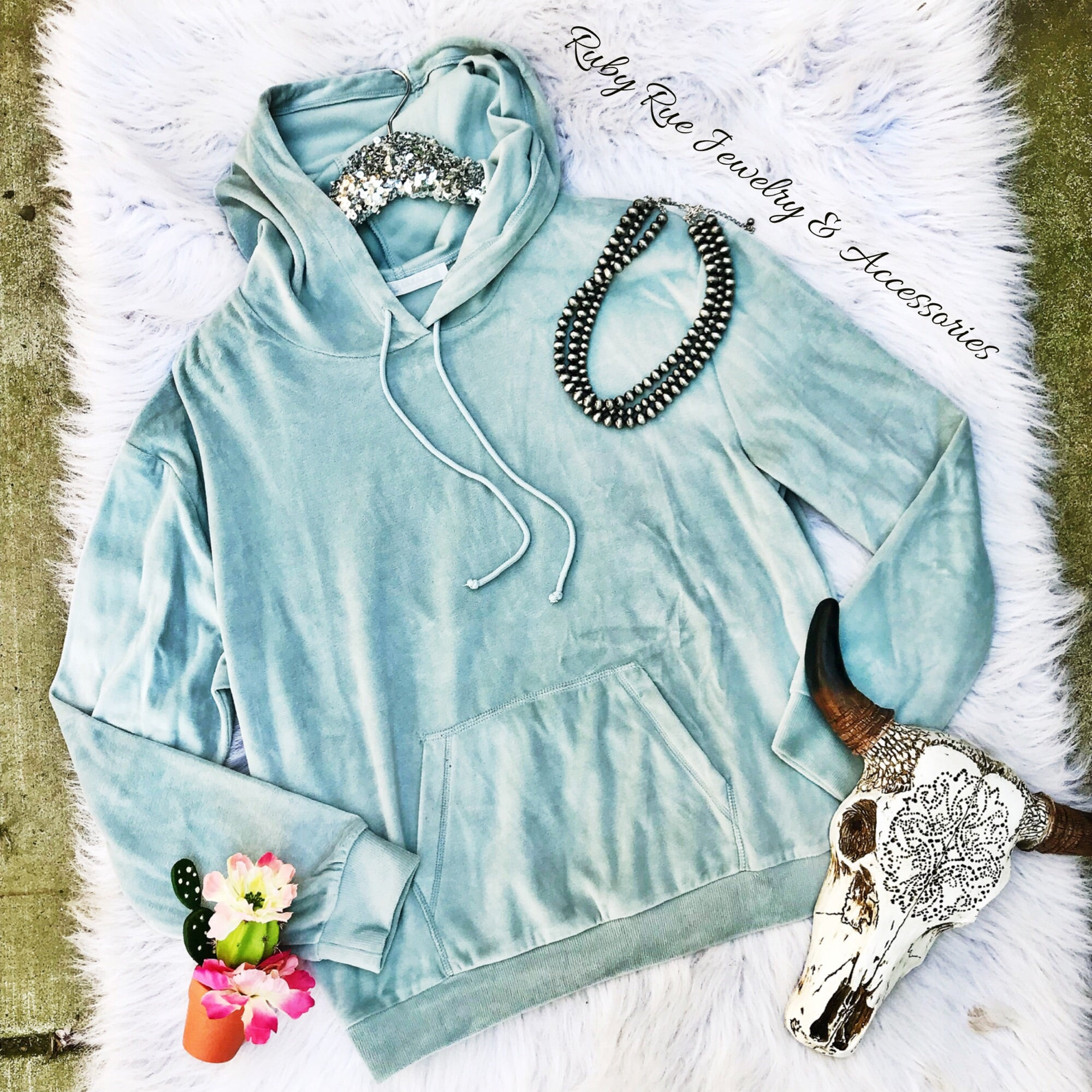 Light Blue Velvet Sweatshirt - Ruby Rue Jewelry & Accessories