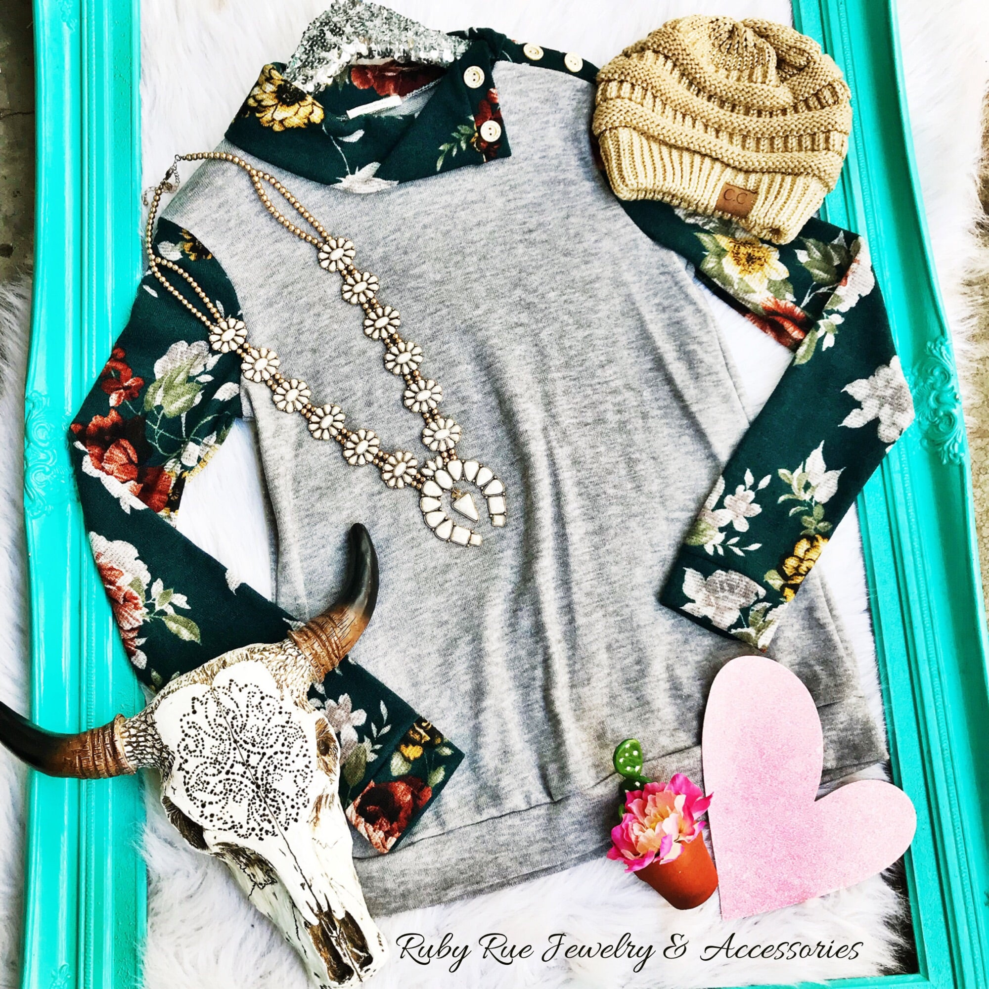 Dark Turquoise Floral Longsleeve - Ruby Rue Jewelry & Accessories