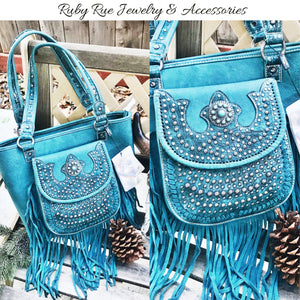 Turquoise Fringe Leather Handbag - Ruby Rue Jewelry & Accessories