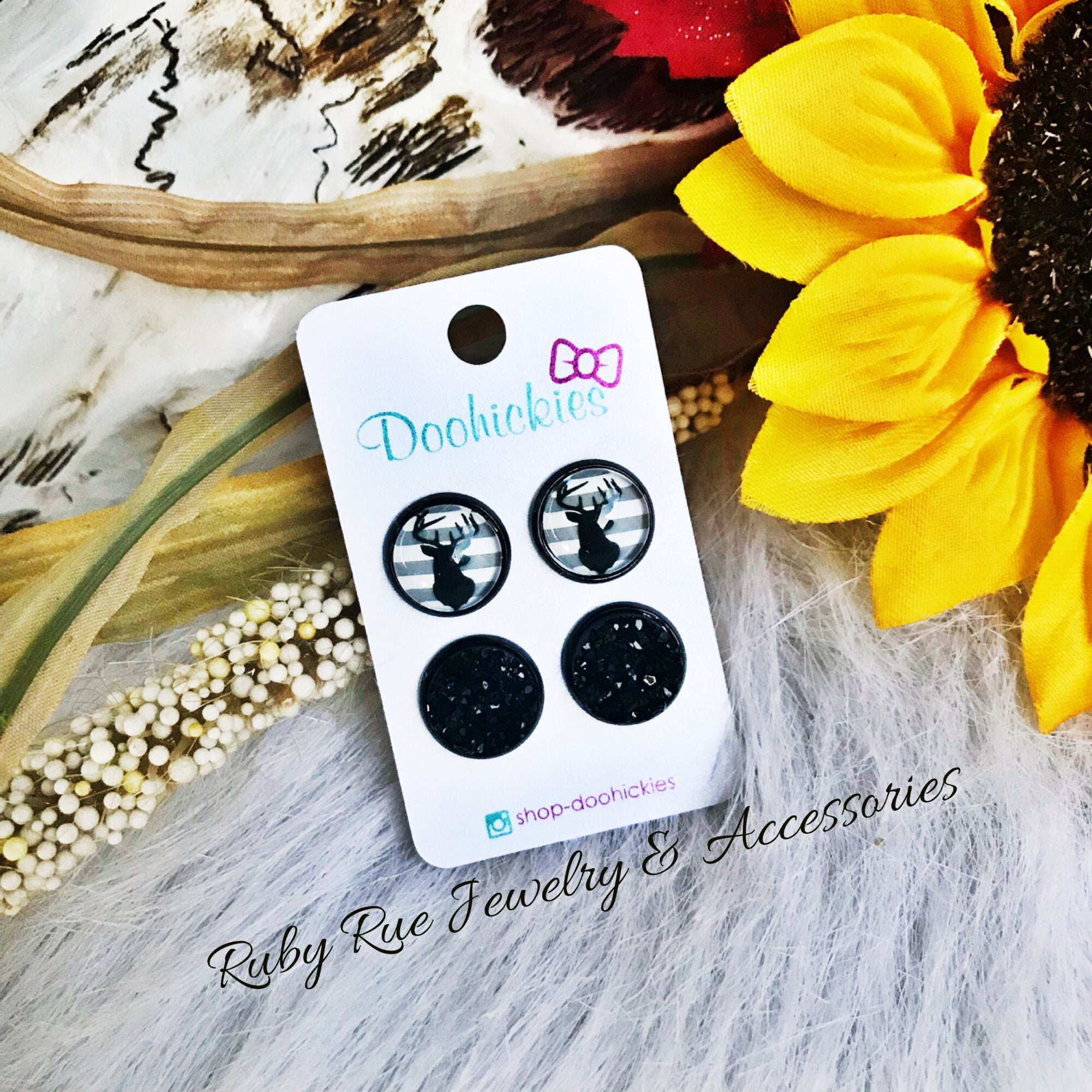 Black Deer Head & Druzy Earring Set - Ruby Rue Jewelry & Accessories