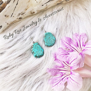 Sterling Silver Turquoise Slab Earrings - Ruby Rue Jewelry & Accessories