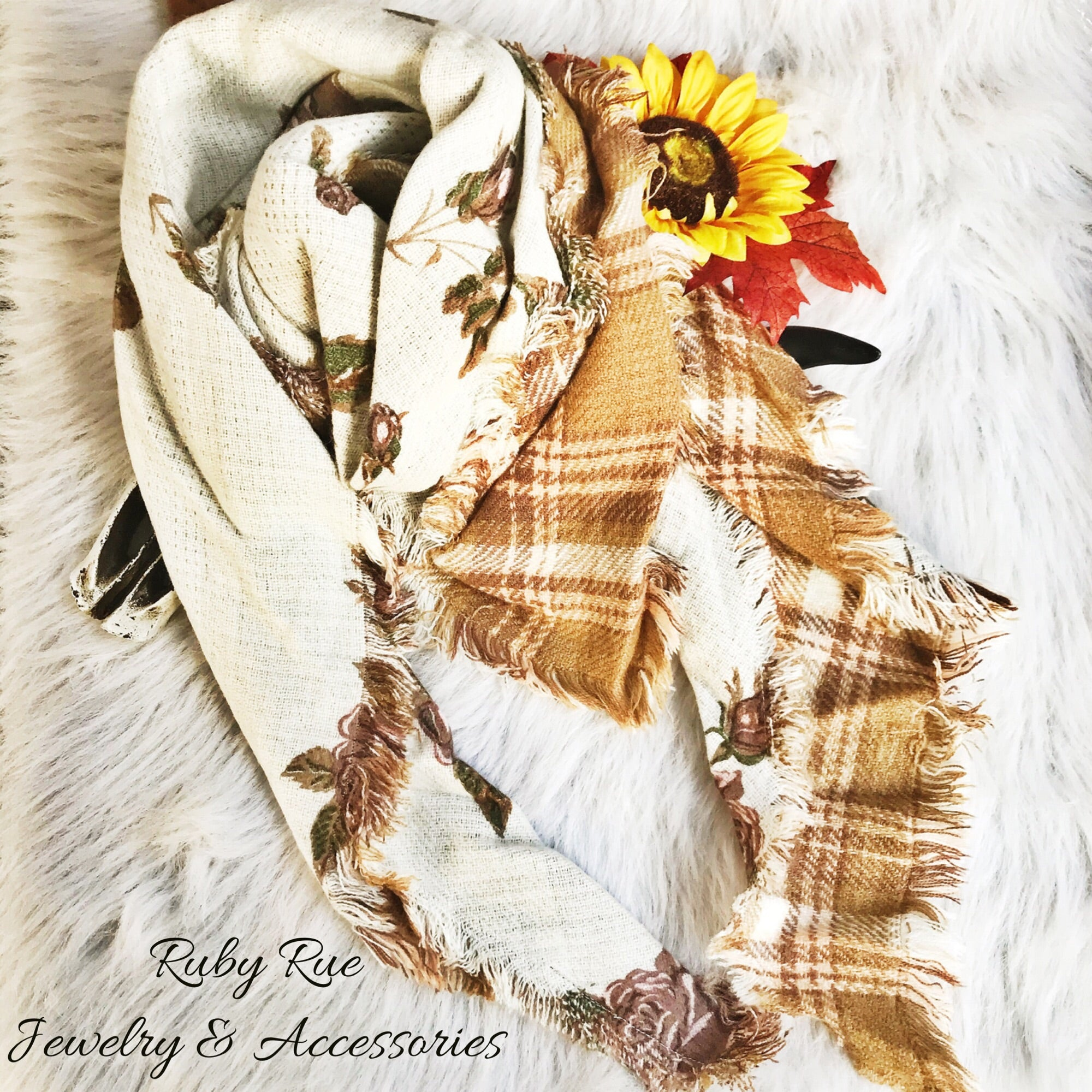 Taupe Reversible Scarf - Ruby Rue Jewelry & Accessories