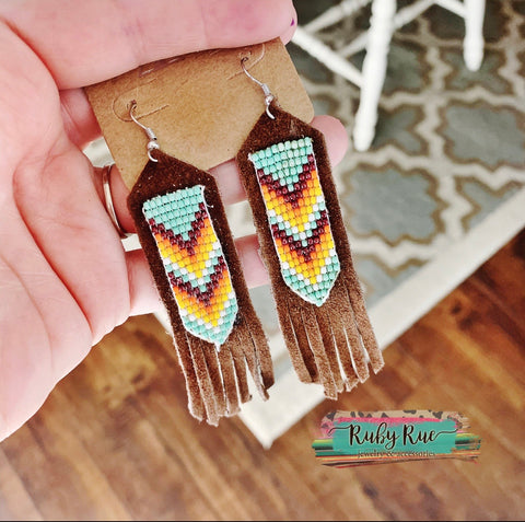 Leather Fringe Beaded Earrings