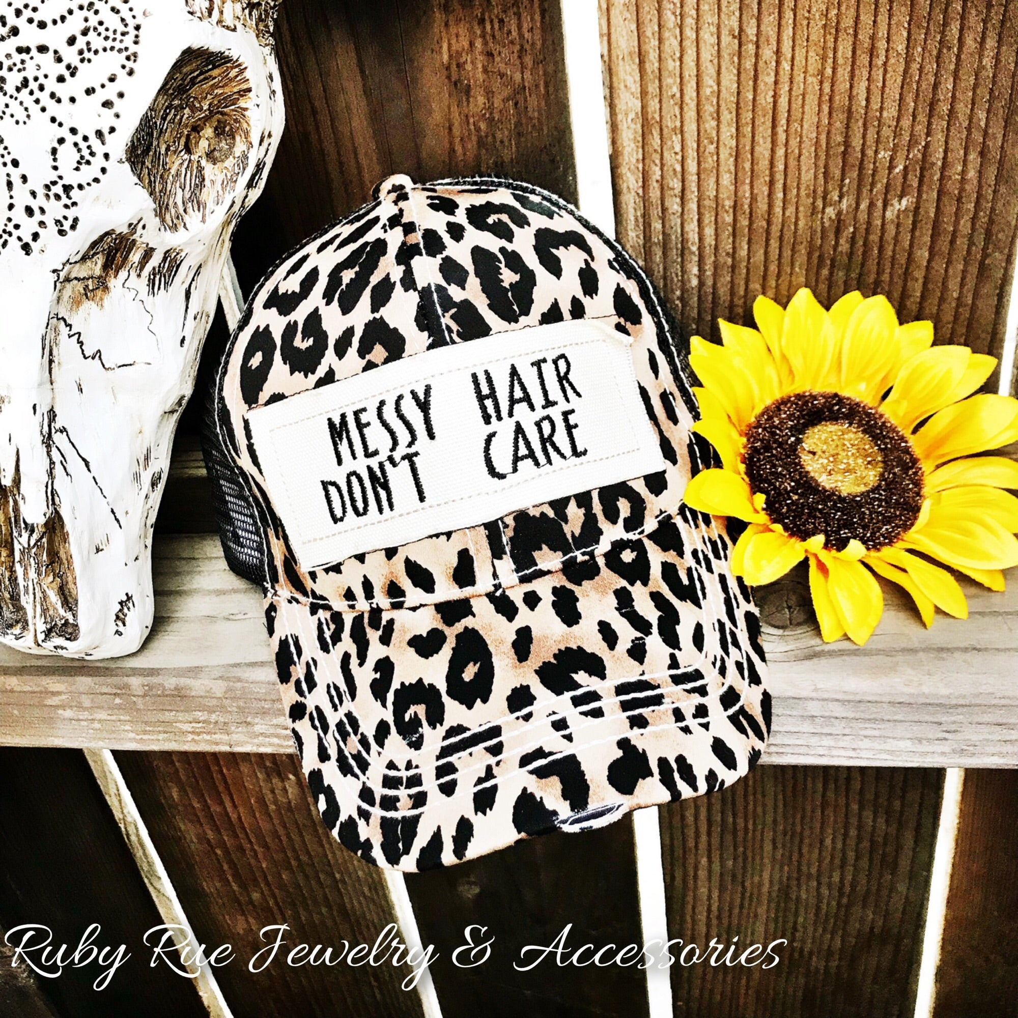 Messy Hair Don't Care Cheetah Hat - Ruby Rue Jewelry & Accessories