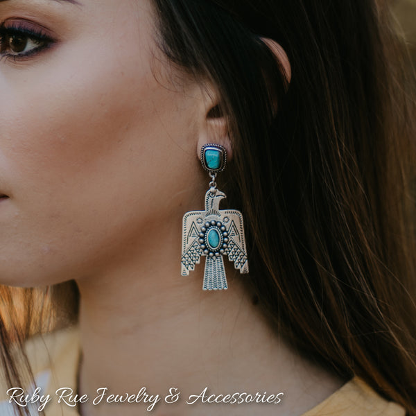 Silver Thunderbird Earrings - Ruby Rue Jewelry & Accessories