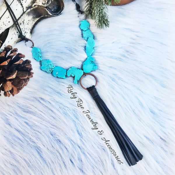 Turquoise Slab Tassel Necklace - Ruby Rue Jewelry & Accessories
