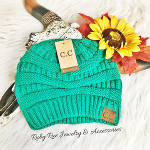 Teal CC Beanie - Ruby Rue Jewelry & Accessories