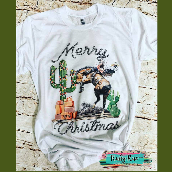 Merry Christmas Cowboy Tee - Ruby Rue Jewelry & Accessories