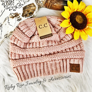 Dusty Rose CC Beanie - Ruby Rue Jewelry & Accessories