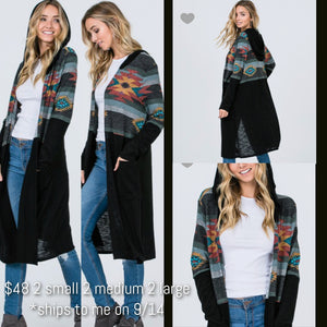 Black Aztec Hooded Duster - Ruby Rue Jewelry & Accessories
