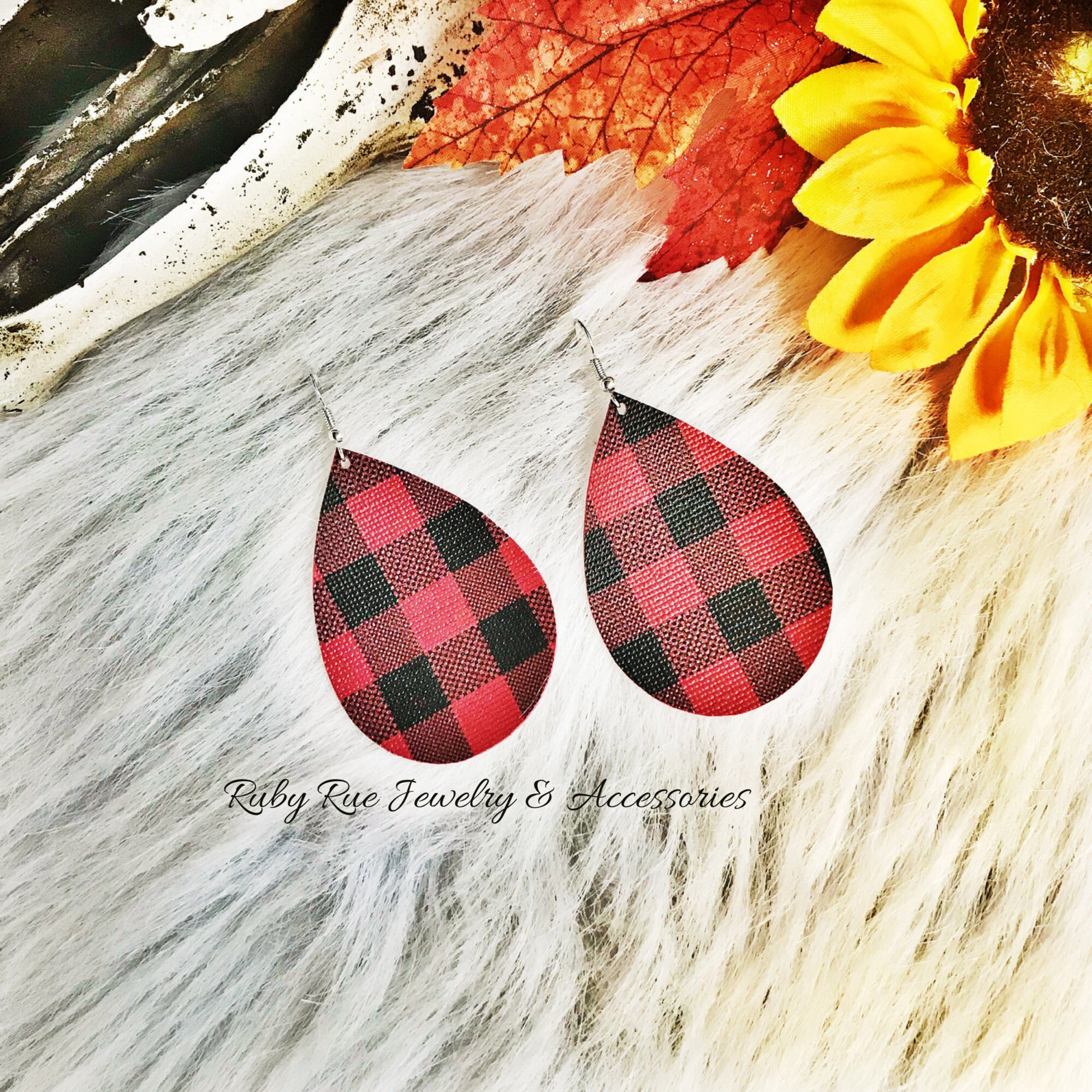 Buffalo Plaid Leather Earrings - Ruby Rue Jewelry & Accessories