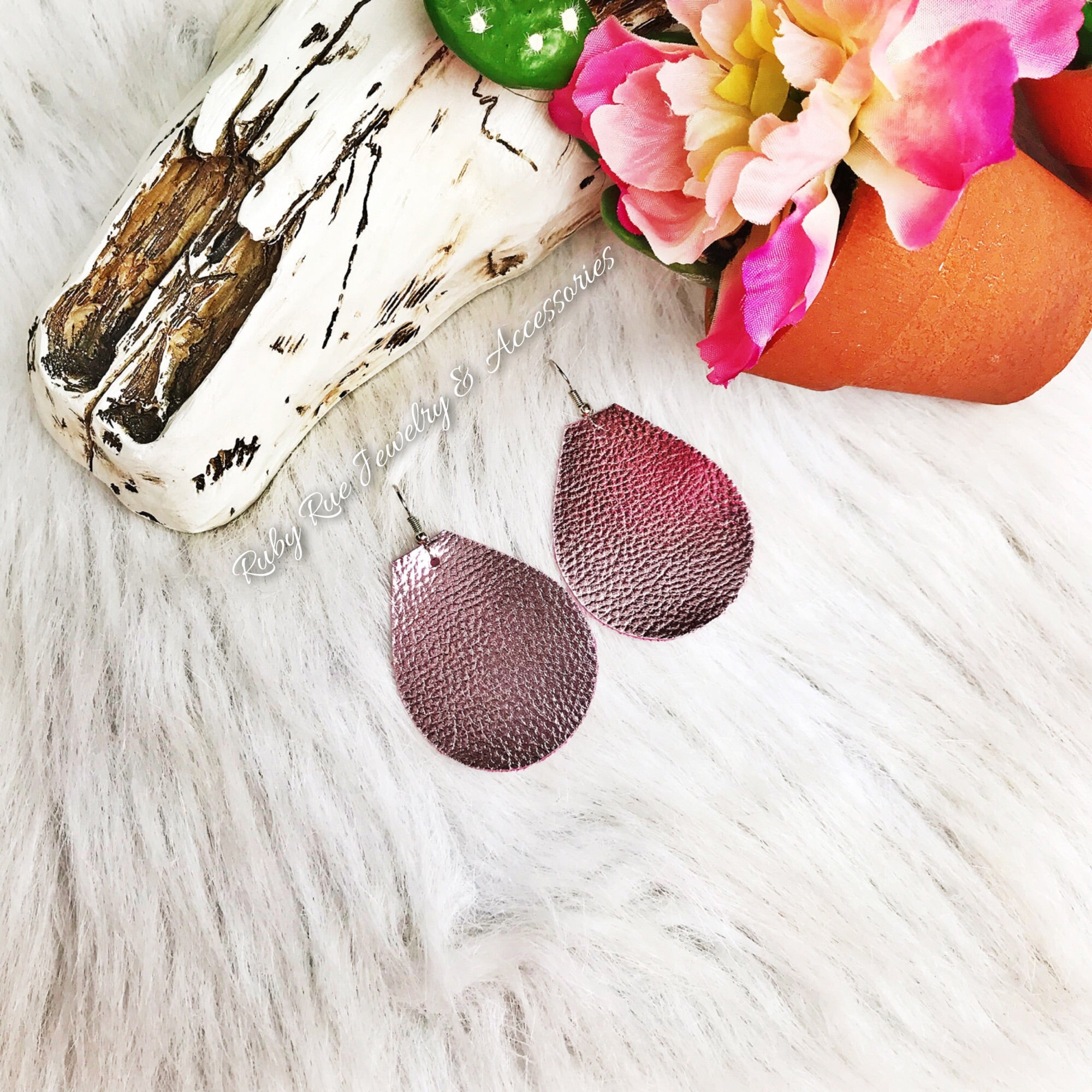 Metallic Light Plum Leather Earrings - Ruby Rue Jewelry & Accessories