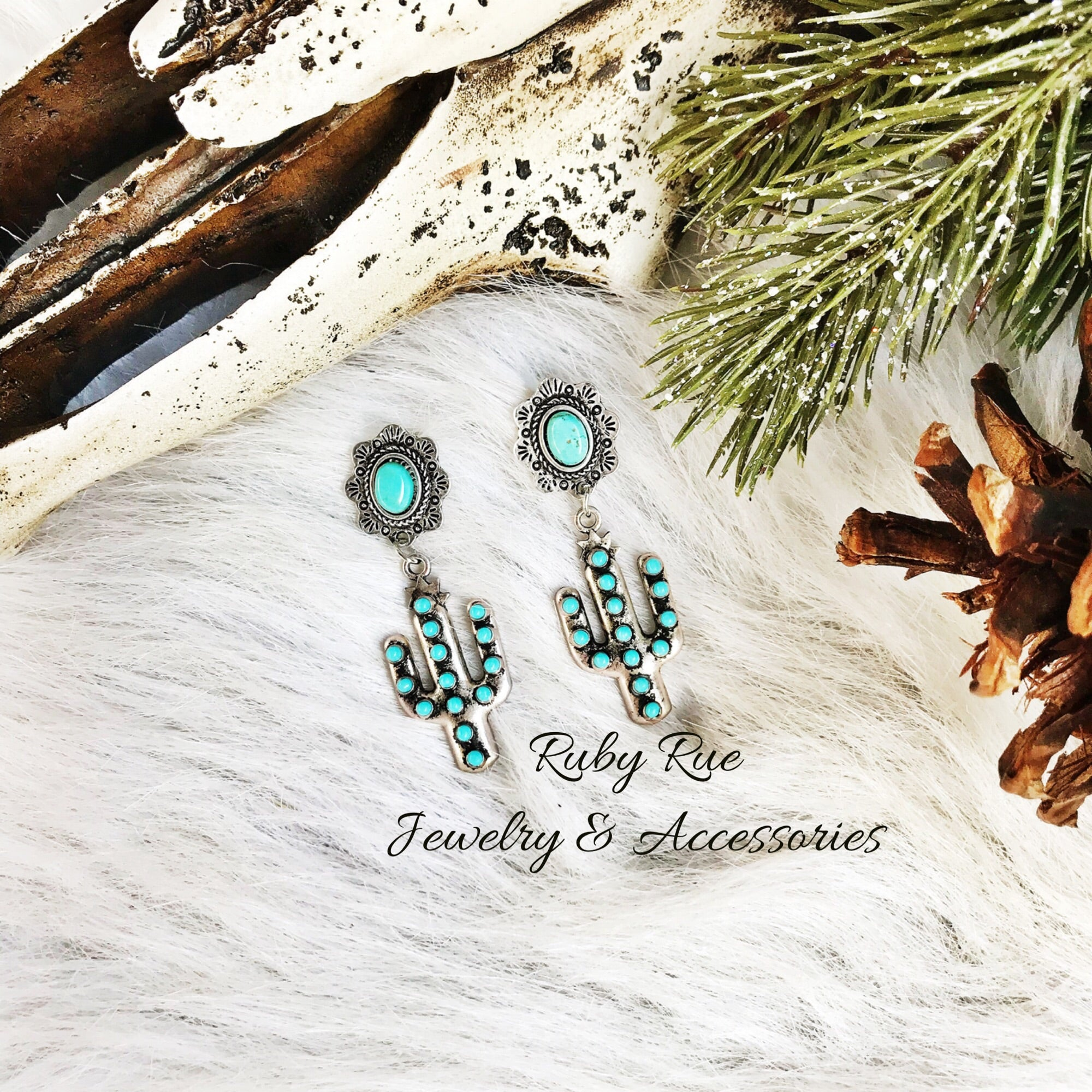 Turquoise Cactus Earrings - Ruby Rue Jewelry & Accessories