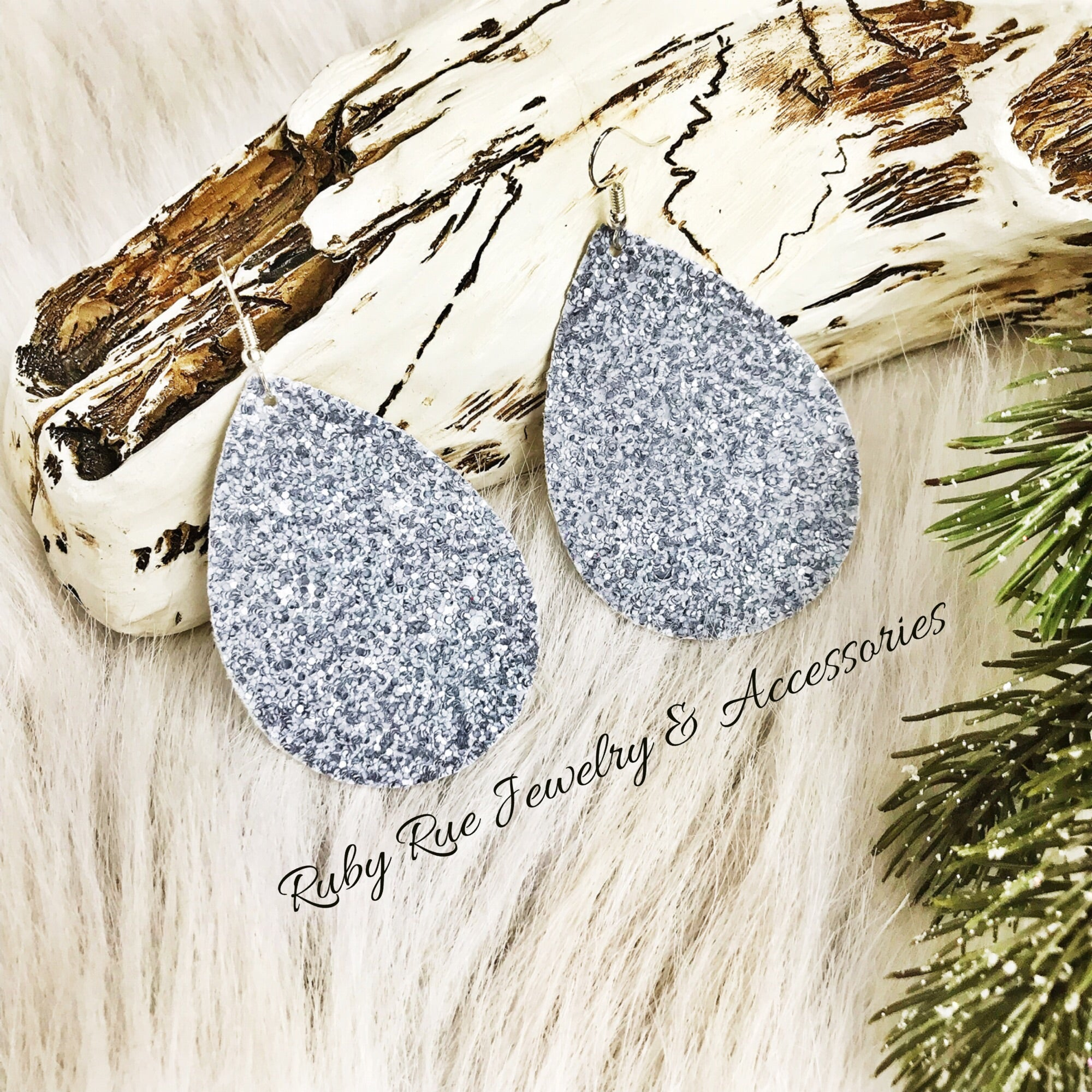 Muted Silver Glitter Earrings - Ruby Rue Jewelry & Accessories