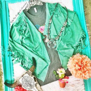 Mint Fringe Suede Jacket - Ruby Rue Jewelry & Accessories