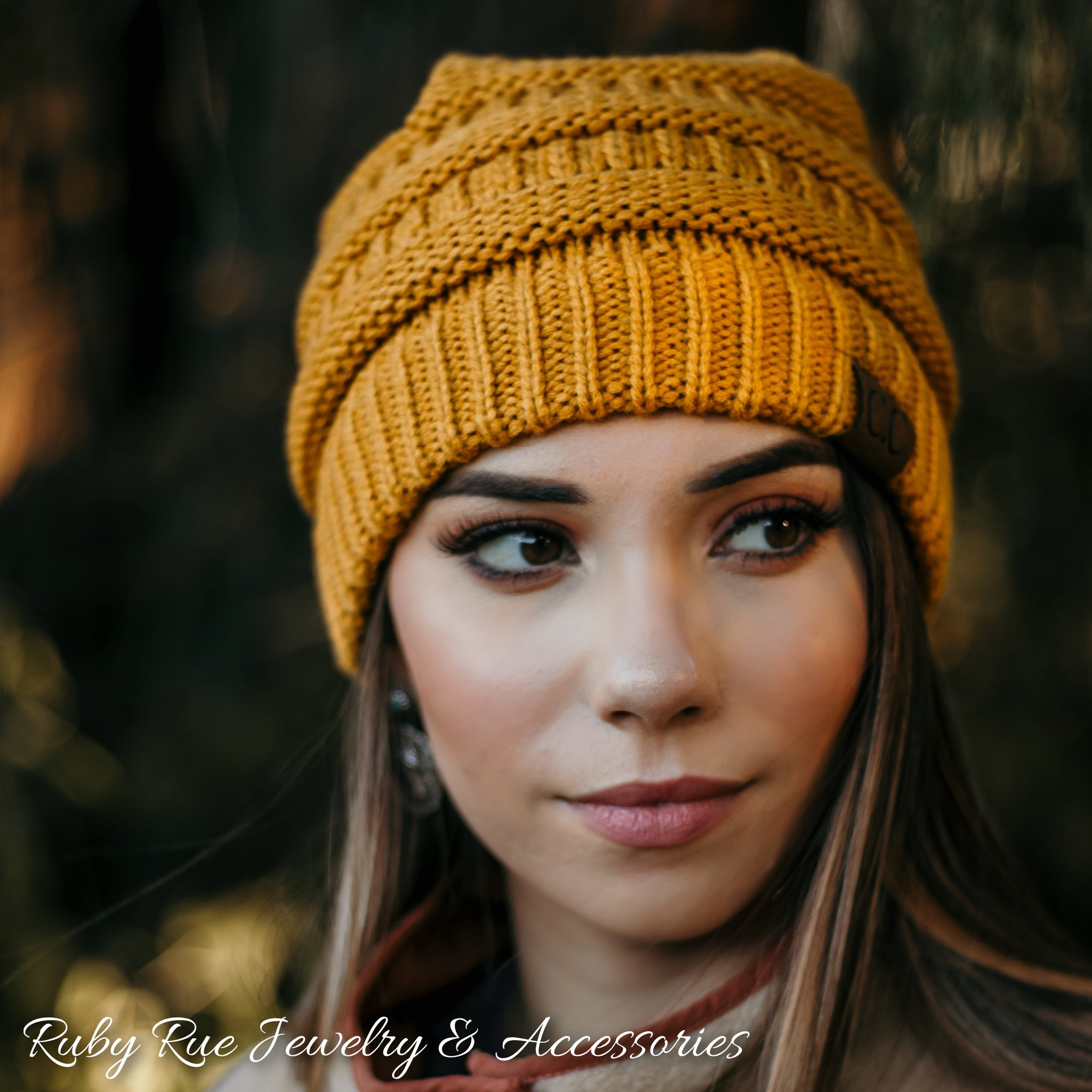 Mustard CC Beanie - Ruby Rue Jewelry & Accessories