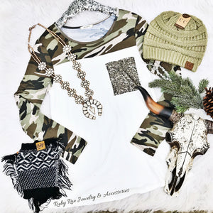 Camo Long Sleeve Top - Ruby Rue Jewelry & Accessories