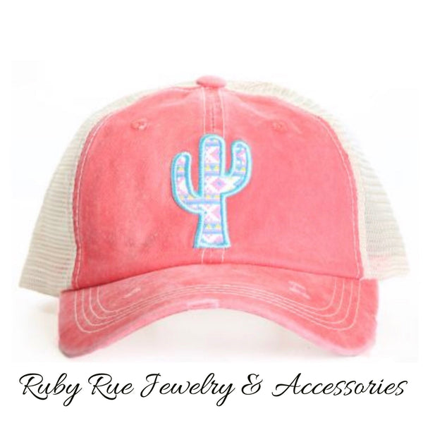 Coral Aztec Cactus Hat - Ruby Rue Jewelry & Accessories