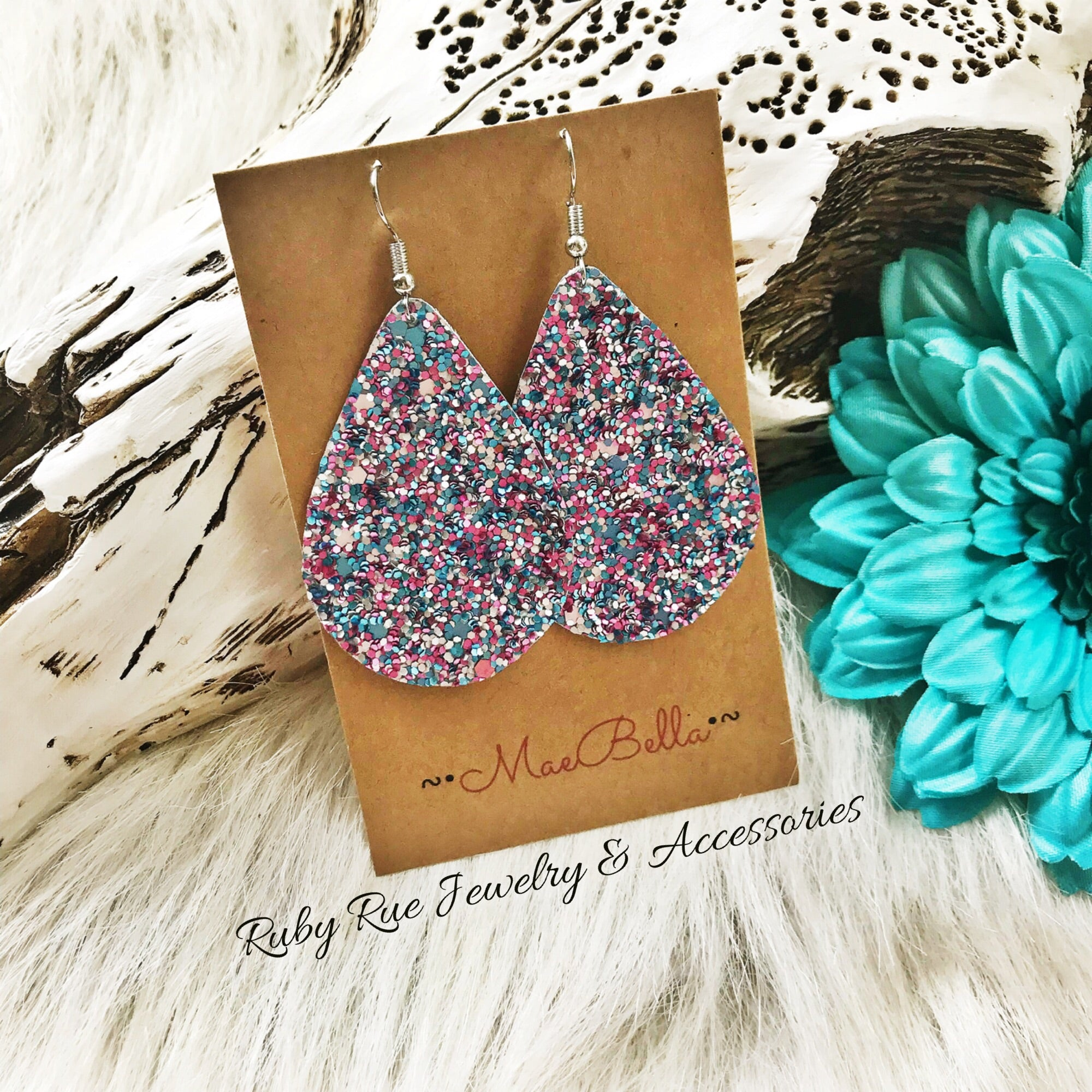 Pinky-Turquoise Glitter Canvas Earrings - Ruby Rue Jewelry & Accessories
