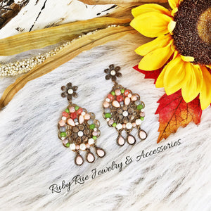 Vintage Inspired Floral Earrings - Ruby Rue Jewelry & Accessories