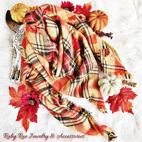 Pumpkin Harvest Blanket Scarf - Ruby Rue Jewelry & Accessories