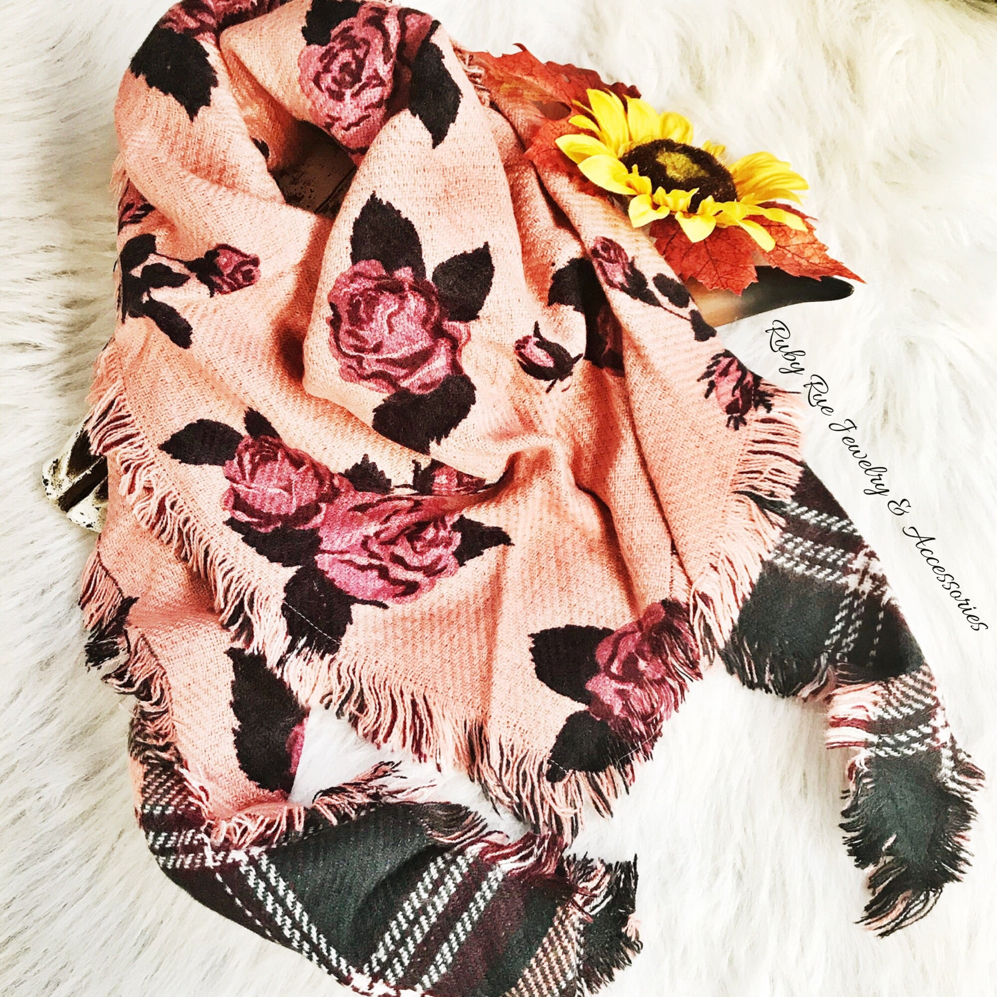 Pink Reversible Scarf - Ruby Rue Jewelry & Accessories