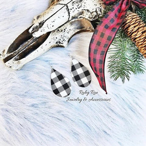 White Plaid Leather Earrings - Ruby Rue Jewelry & Accessories