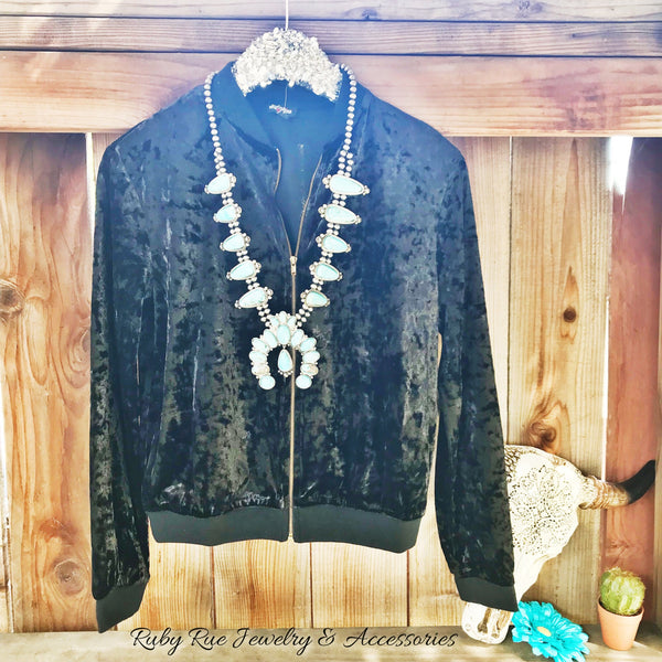 Velvet Bomber Jacket - Ruby Rue Jewelry & Accessories