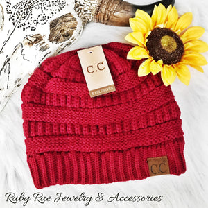 Burgundy CC Beanie - Ruby Rue Jewelry & Accessories