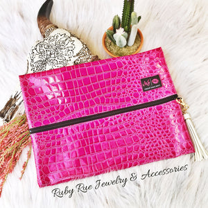 Hot Pink Makeup Junkie Bag - Ruby Rue Jewelry & Accessories