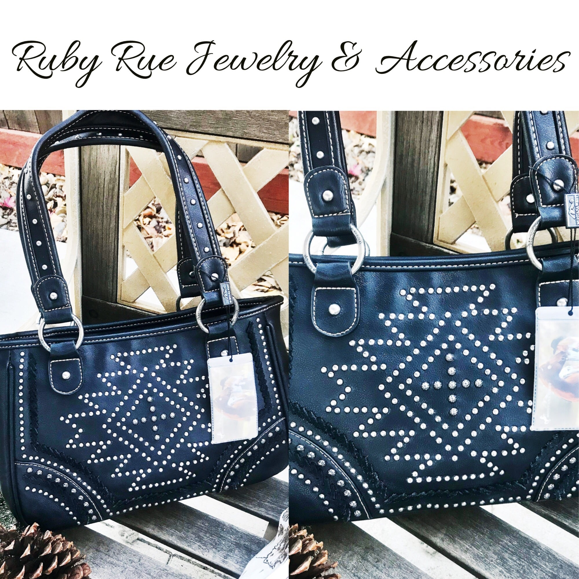 Black Double Handle Leather Handbag - Ruby Rue Jewelry & Accessories