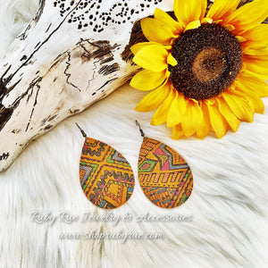 Mustard Aztec Leather Earrings - Ruby Rue Jewelry & Accessories