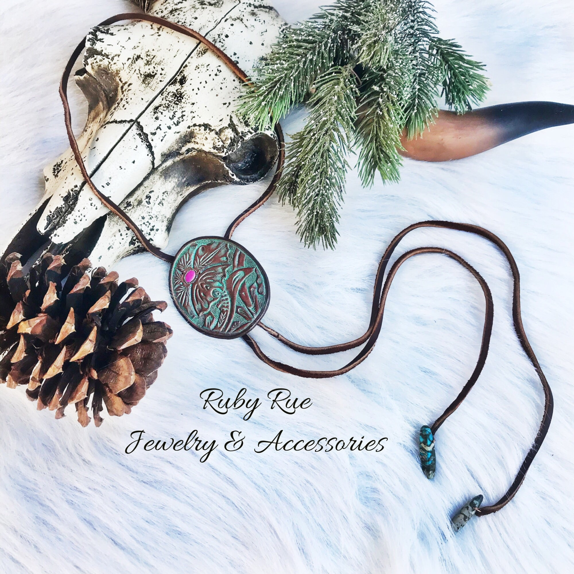 Floral Leather Bolo - Ruby Rue Jewelry & Accessories