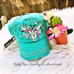 Turquoise Bull Skull Hat - Ruby Rue Jewelry & Accessories