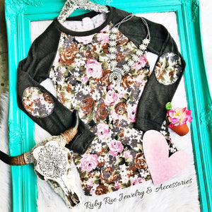 Pink Floral Elbow Patch Longsleeve - Ruby Rue Jewelry & Accessories