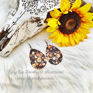 Fall Floral Leather Earrings - Ruby Rue Jewelry & Accessories
