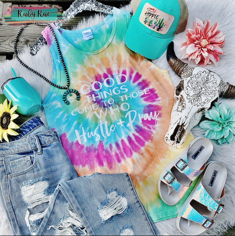 Hustle & Pray Tye Dye Tank - Ruby Rue Jewelry & Accessories