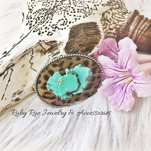 Handmade Hair on Hide Turquoise Belt Buckle - Ruby Rue Jewelry & Accessories
