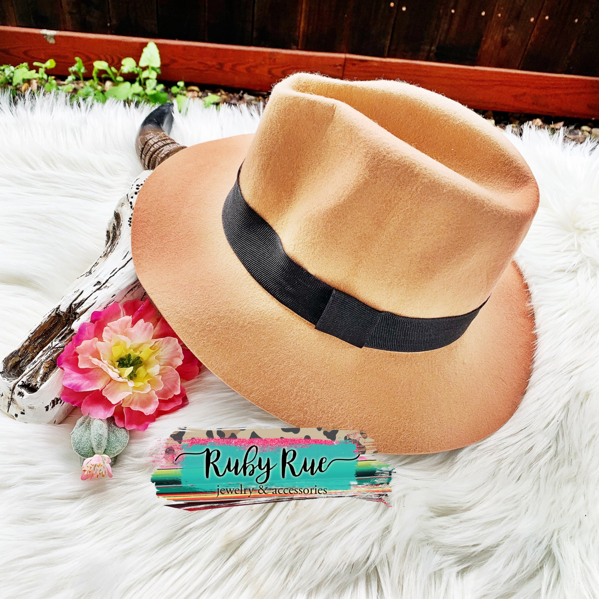Dusty Camel Felt Floppy Hat - Ruby Rue Jewelry & Accessories