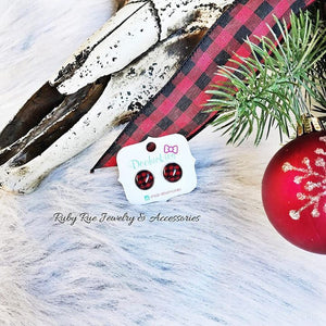 Buffalo Plaid Glass Earrings - Ruby Rue Jewelry & Accessories