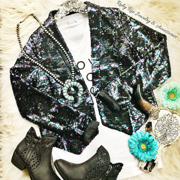 Dark Iridescent Sequin Blazer - Ruby Rue Jewelry & Accessories