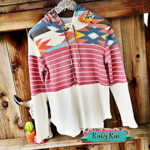Aztec Waffle Knit Long Sleeve - Ruby Rue Jewelry & Accessories
