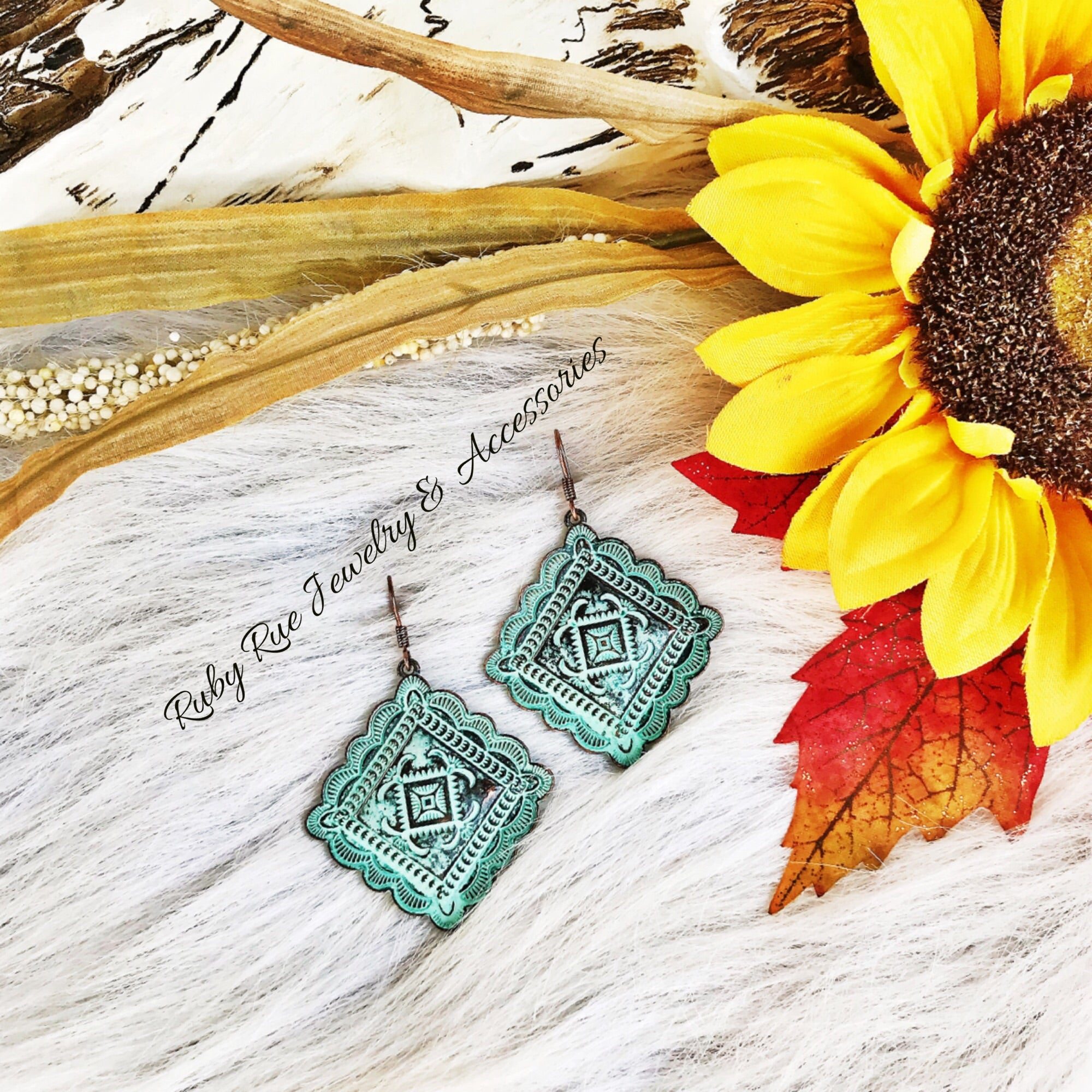 Western Concho Earrings in Patina - Ruby Rue Jewelry & Accessories
