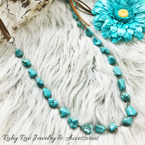 Natural Turquoise Leather Necklace - Ruby Rue Jewelry & Accessories
