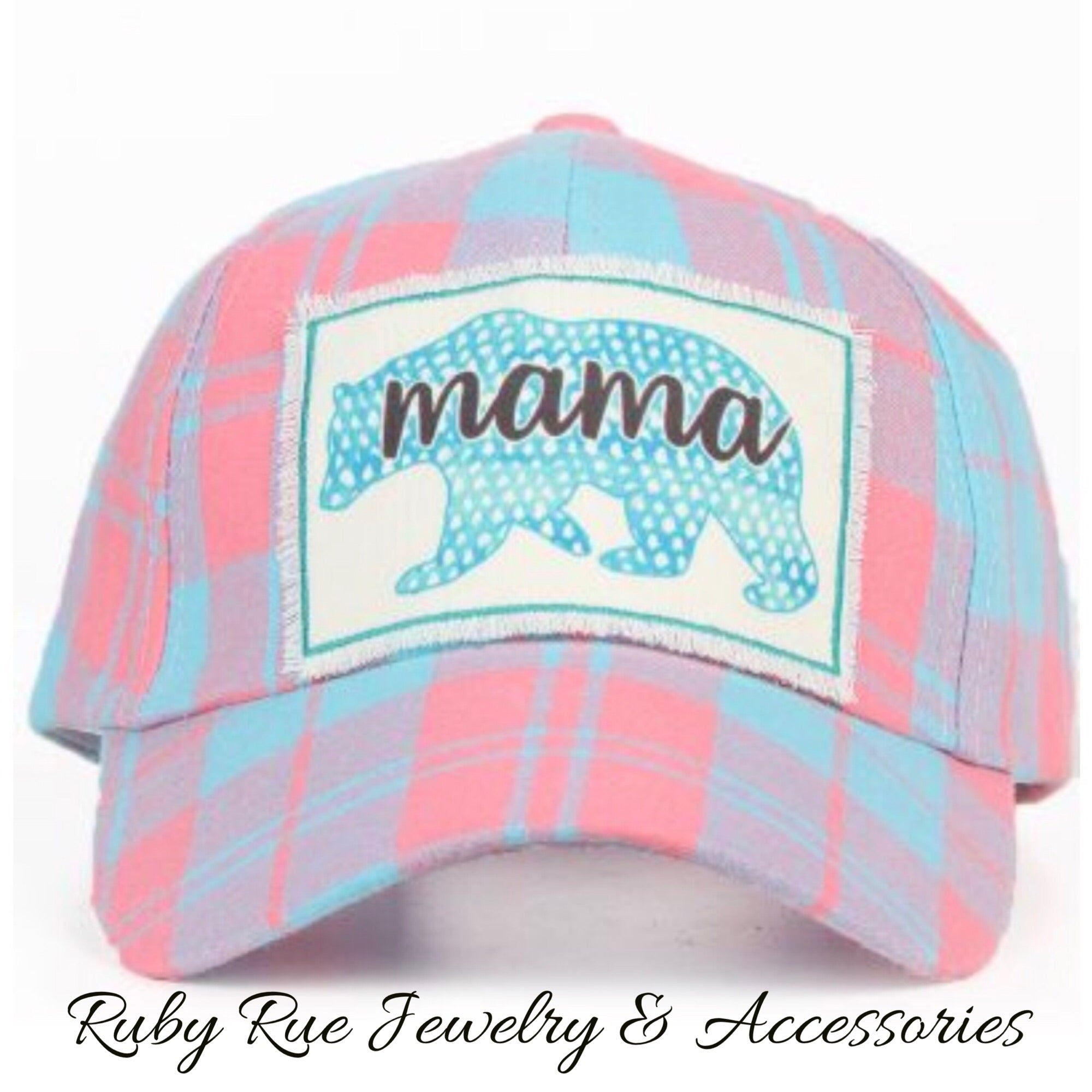 Mama Bear Plaid Hat - Ruby Rue Jewelry & Accessories