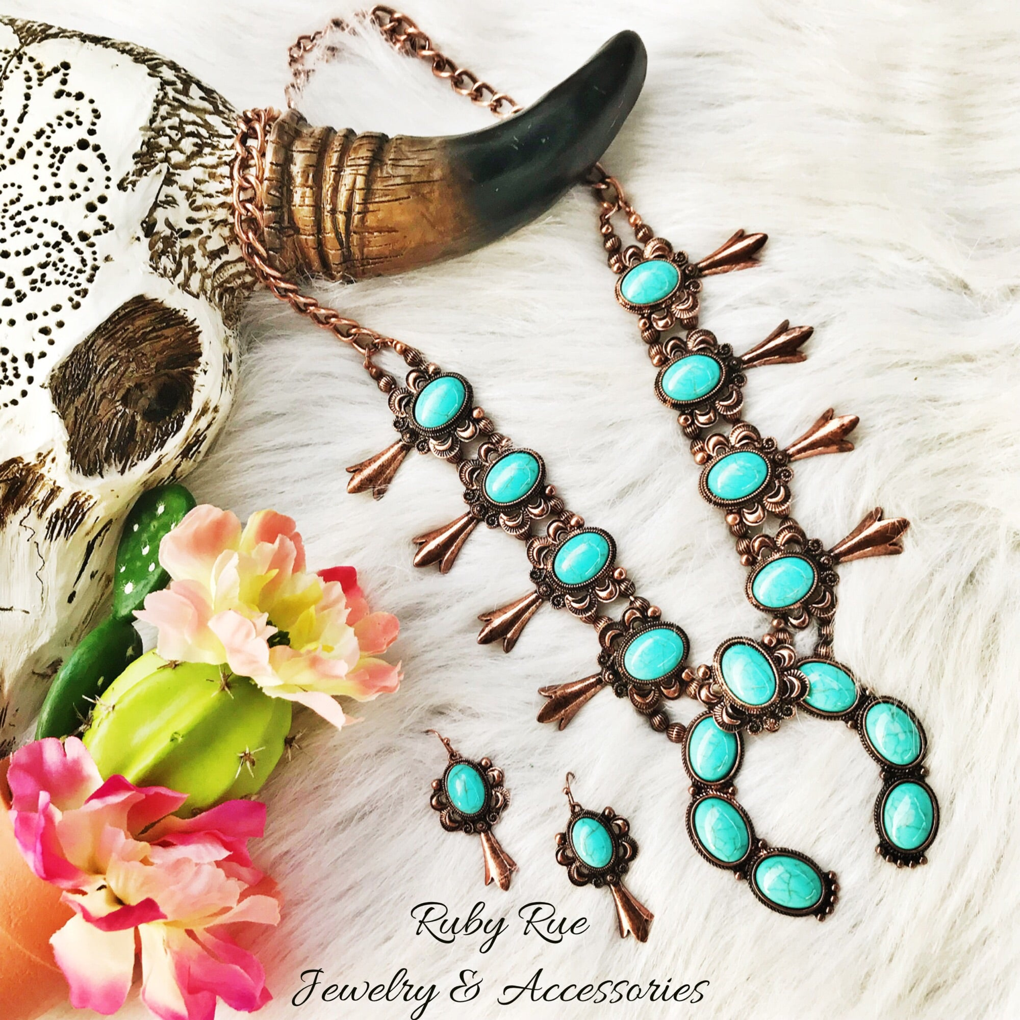 Ol' Antique Turquoise Squash Set - Ruby Rue Jewelry & Accessories