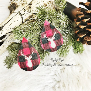 Buffalo Plaid Deer Head Leather Earrings - Ruby Rue Jewelry & Accessories