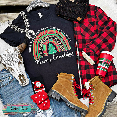 Merry Christmas Rainbow Tee
