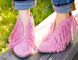 Pink Fringe Booties - Ruby Rue Jewelry & Accessories